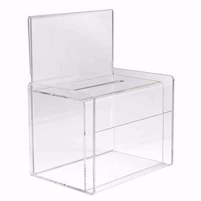 Acrylic Charity Collection Box with Sign Holder
