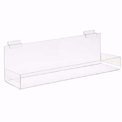 Slatwall Acrylic Shelf with Wrap Lip 24x4