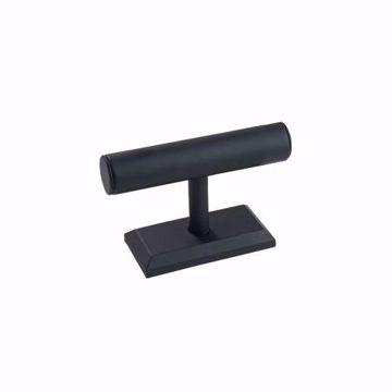 Black Faux Leather Small T-Bar