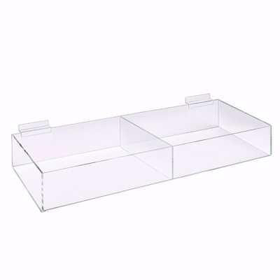 Slatwall Acrylic 2 Compartment Bin