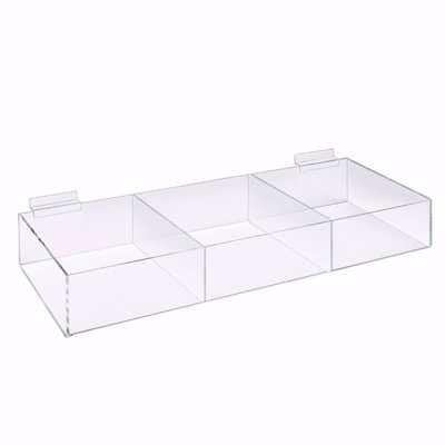 Slatwall Acrylic 3 Compartment Bin