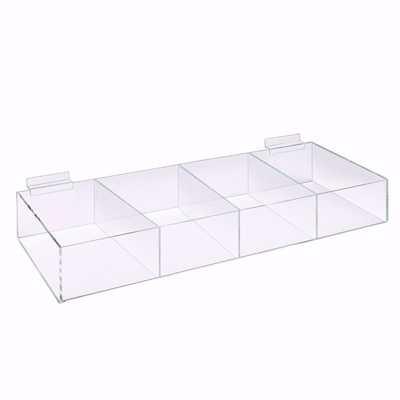 Slatwall Acrylic 4 Compartment Bin