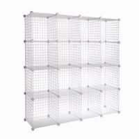 Wire Binning Cubby Unit 4x4 White