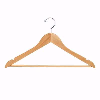 17 inch Flat Wood Suit Hangers with Pant Bar
