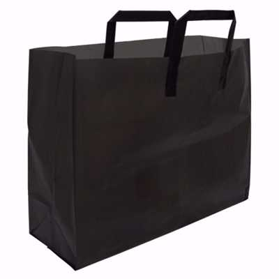 Black Frosted Plastic Shopping Bags (medium)