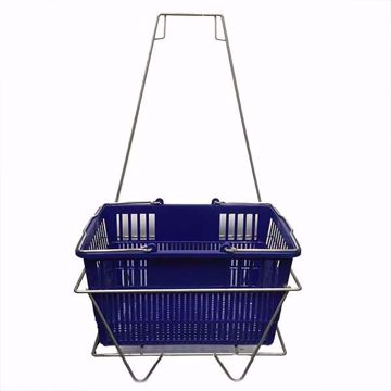 Blue Shopping Baskets with Rack Stand