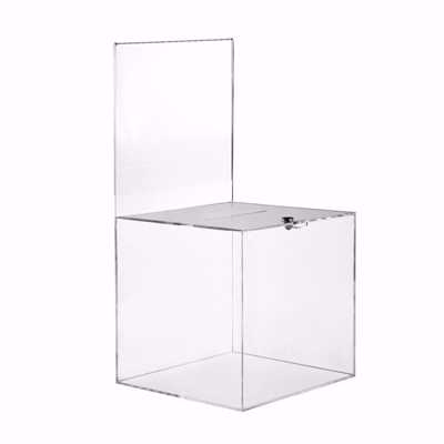 Acrylic Locking Ballot Box with Sign Holder