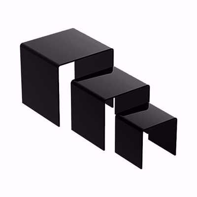 Acrylic Square Riser Set of 3 Black