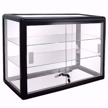 Black Gloss Aluminum Display Case with Lock 24 x12