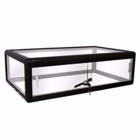 Black Gloss Aluminum Display Case with Lock 30 x 9