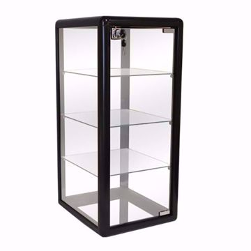 Tall Black Gloss Aluminum Display Case with Lock