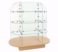 Glass Display Merchandiser - Maple Oval Base