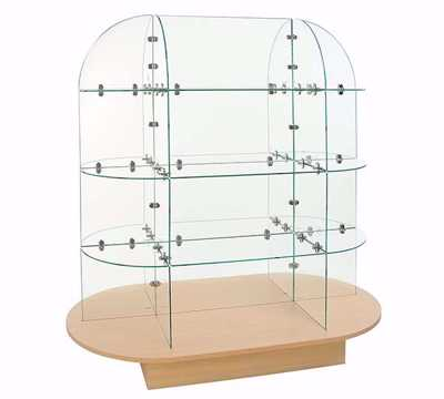 Glass Display Merchandiser - Maple Oval Base