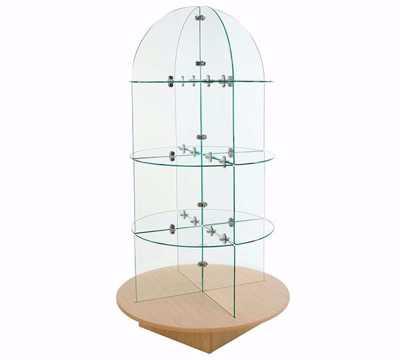 Glass Display Merchandiser - Maple Round Base
