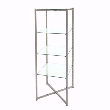 """Folding Glass Merchandiser Tower 52""""H"""