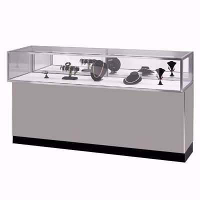 6 ft Metal Framed Jewelry Showcase Gray
