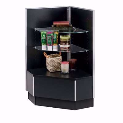 Metal Framed Corner Filler Display Case Black