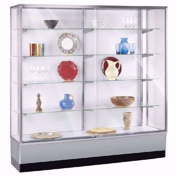 6 ft Metal Framed Wall Unit Display Case Gray