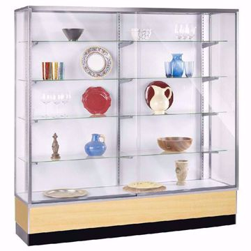 6 ft Metal Framed Wall Unit Display Case Maple