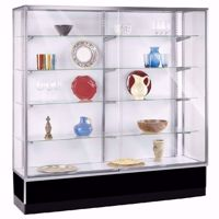 6 ft Metal Framed Wall Unit Display Case Black